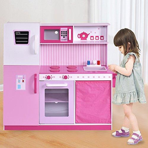 Costway Kids Pretend Kitchen Role Play Set Wooden Cooking Toy W/ Fridge & Cabinet Large Christmas Gift