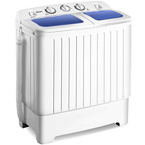 COSTWAY Mini Twin Tub Washing Machine (5KG Washing + 3KG Drying), Portable & Compact Washer Spin Dryer, Gravity Drain, Separate Timer for Easily Operate, Space Saving for Apartment, Hotel, Home