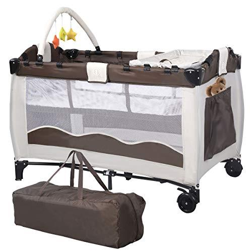 Costway Portable Infant Baby Travel Cot Bed Play Pen Child Bassinet Playpen Entryway W Mat 2 in 1 (Coffee)