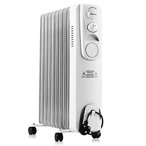 COSTWAY Upgraded Oil Filled Radiator, 2 KW, 9Fin, Portable Electric Heater with 3 Power Settings, Adjustable Temperature, Tip Over Safety Switch and Thermal Safe Cut-off Switch, White