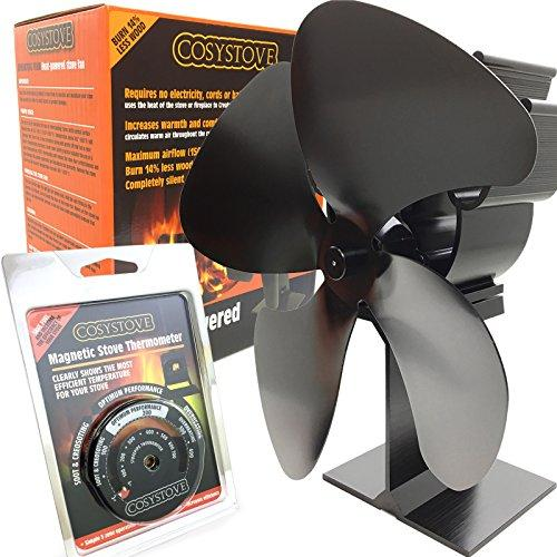 Cosystove 4 Blade Silent Heat Powered Wood Burning Multi-Fuel Stove Fan Including Flue Pipe Thermometer Better Effiency Woodburner Plus New 2019 Care Pack More Heat Save More Money