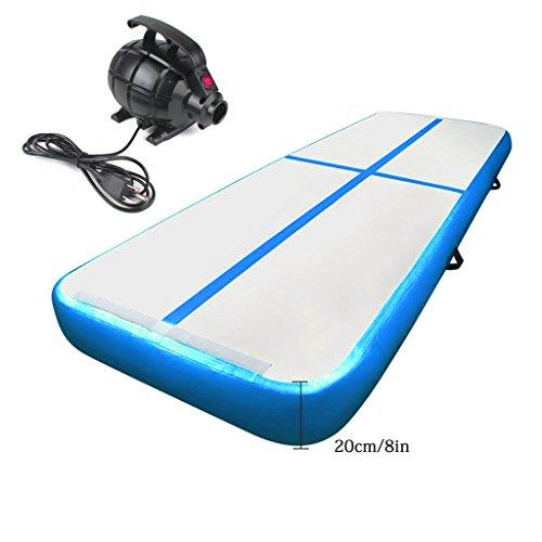 Cotogo 3/4/6x1x0.1M Inflatable Air Track Tumbling Gymnastic Yoga Taekwondo water floating Camping Training mat with 550W Electrical Pump & Includes Carry Bag (Blue, 8x1x0.2M)