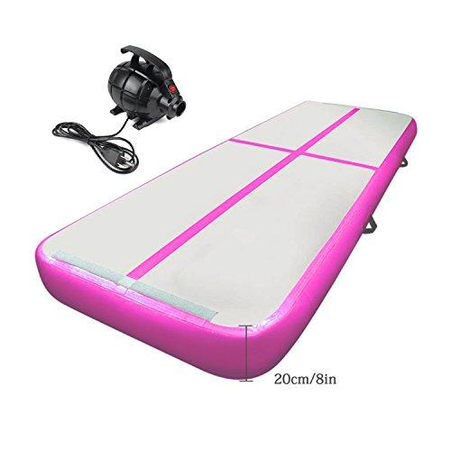 Cotogo 3/4/6x1x0.1M Inflatable Air Track Tumbling Gymnastic Yoga Taekwondo water floating Camping Training mat with 550W Electrical Pump & Includes Carry Bag (Pink, 8x1x0.2M)