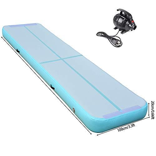 Cotogo Inflatable Air Track Tumbling Gymnastic Yoga Taekwondo water floating Camping Training mat with 550W Electrical Pump and Includes Carry Bag (excellent gift to daughter) (Mint Green, 7x1x0.2M)