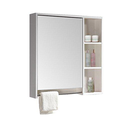 Countertop Mirror Yhz@ Multi-layer Solid Wood Mirror Cabinet Nordic Wall-mounted Waterproof Bathroom Cabinet Mirror Box With Shelf Storage Mirror (Color : #3, Size : 70 * 70 cm)