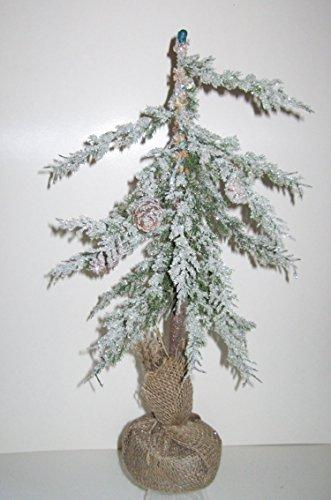 Country Christmas ICY Pine Tabletop Tree with Burlap Ball Choose 18 in or 24 in (24 inch)