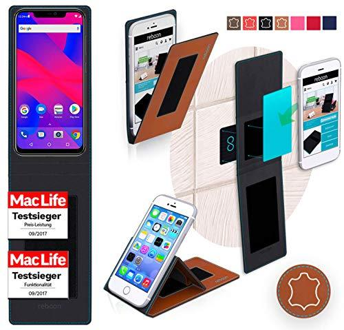 Cover for BLU Vivo XI Plus Case | Brown Leather | Multifunctional Cover Bumper