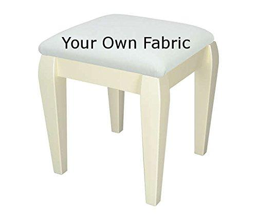 Cream small bedroom/ dressing table stool with Classic legs, upholstered in your own fabric
