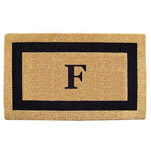 Creative Accents Single Picture Black Frame Heavy Duty Coir Doormat, 38 by 60-Inch, Monogrammed F