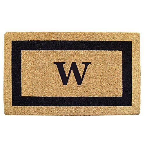 Creative Accents Single Picture Black Frame Heavy Duty Coir Doormat, 38 by 60-Inch, Monogrammed W