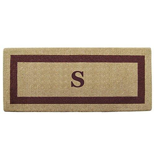 Creative Accents Single Picture Brown Frame Heavy Duty Coir Doormat, 24 by 57-Inch, Monogrammed S