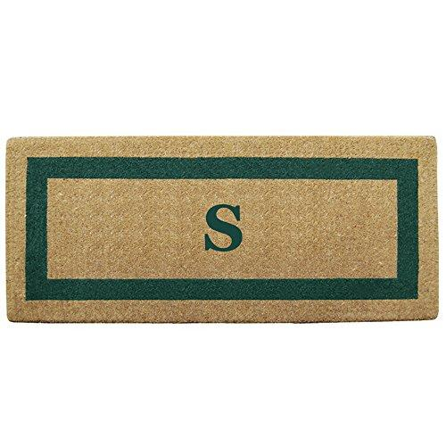 Creative Accents Single Picture Green Frame Heavy Duty Coir Doormat, 24 by 57-Inch, Monogrammed S