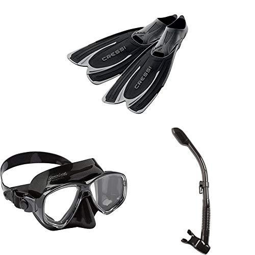 Cressi Agua Fins for Diving and Snorkelling, EU 45/46 (UK 9.5/10.5) with Marea, Adult Snorkelling and Diving Mask, and Dry Snorkel