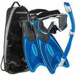 Cressi Palau Traveling Premium Snorkel Set, Panoramic Wide View Adult Diving Snorkeling Mask, Desert Dry Snorkel, Adjustable Fins, Travel Gear Bag - Metallic Blue - X-Small/Small
