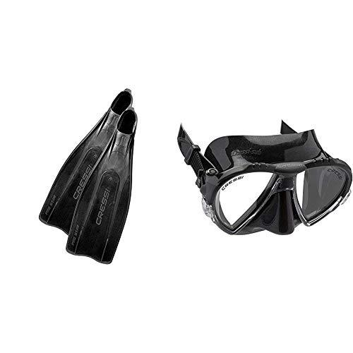 Cressi Prostar, Flippers Snorkeling Scuba Diving Free Diving, Italian Made Fins Adult Matrix Snorkelling Mask - Dark