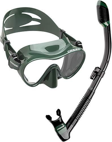 Cressi Scuba Diving Snorkeling Freediving Mask Snorkel Set, Green Camo