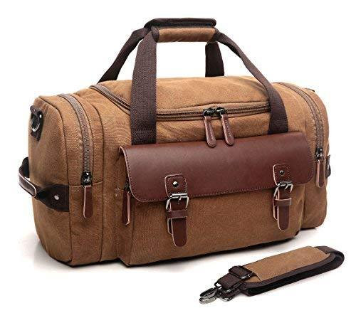 CrossLandy Overnight Travel Duffel Leather Canvas Sports Gym Bag Retro Weekend Tote Durable Carry On Luggage