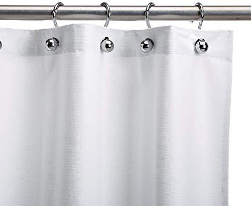 CSI Bathware CUR66x72-P5 66-Inch x 72-Inch Heavy-Duty Commercial Shower Curtain Antistatic Staph Resistant Mold and Odor Resistant, White, 5-Pack