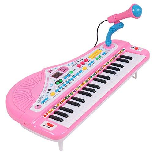 CT-Tribe 37 Key Electronic Keyboard Digital Display Piano with Microphone For Kids Children Gift - Color Random