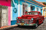 Cuba Wallpaper Pictures Decoration - Old-timer Car-Havana World Cultural Heritage Red Car La Habana Vieja City-Che Guevara I paperhanging poster wall decor by GREAT ART (82,7 x 55 Inch / 210 x 140 cm)