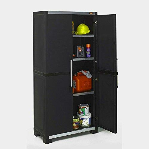 Cupboard Storage Unit Garden Shed Indoor Shelf Roof Tall Cabinet Black Organiser Plastic Large Garage Utility Heavy Duty Furniture Lockable Inside Tool &E Book