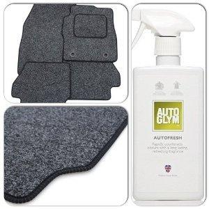 Custom Fit Tailor Made Anthracite Carpet Car Mats with Black Trim for Seat Exeo (2009 Onwards) - Drivers Side Thick Protection Heel Pad (+ Autoglym Autofresh Interior Air Freshener)