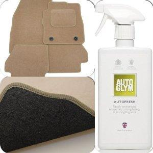 Custom Fit Tailor Made Beige Carpet Car Mats for Seat Alhambra (2010 Onwards) - Double Drivers Side Protection Heel Pad (+ Autoglym Autofresh Interior Air Freshener)