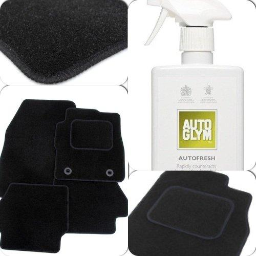 Custom Fit Tailor Made Black Carpet Car Mats for Citroen C3 2nd gen / DS3 (2009 Onwards) - Double Drivers Side Protection Heel Pad (+ Autoglym Autofresh Interior Air Freshener)