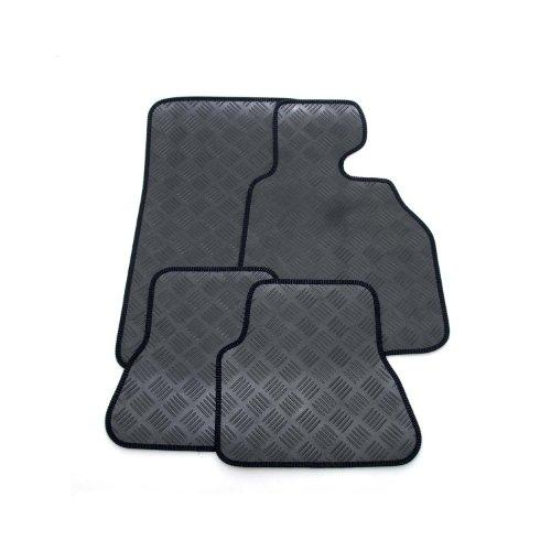 Custom Fit Tailor Made Black Rubber Interior Protection Car Mats for Picanto 2nd gen (2011 Onwards) - Neat Black Ribbed Stitched Edging Trim