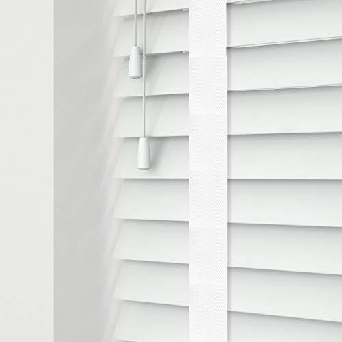 Custom Made To Measure Real Wood Wooden Venetian Blinds 50mm Slats 60cm Width x 120cm Drop White Tape