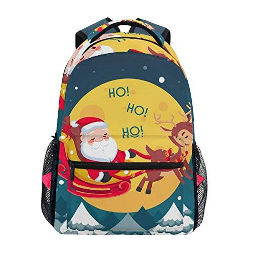 CVDGSAD Christmas Snow Moon Bookbag School Student Backpack for Travel Teen Girls Boys Kid