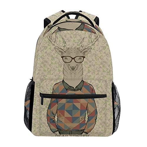CVDGSAD Cool Hipster Deer Bookbag School Student Backpack for Travel Teen Girls Boys Kid