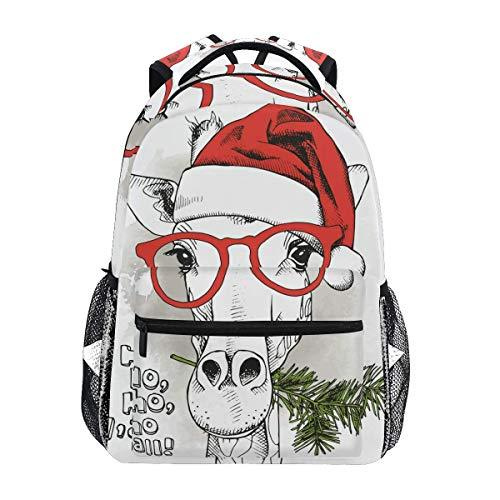 CVDGSAD Fashion Christmas Giraffe Bookbag School Student Backpack for Travel Teen Girls Boys Kid