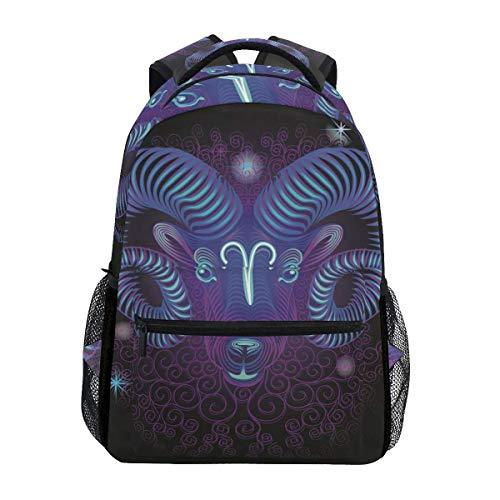 CVDGSAD Galaxy Aries Zodiac Bookbag School Student Backpack for Travel Teen Girls Boys Kid