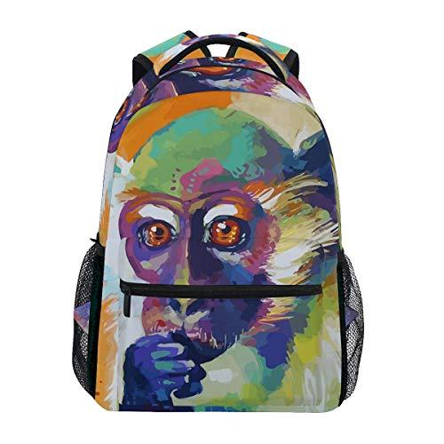 CVDGSAD Oil Painting Monkey Bookbag School Student Backpack for Travel Teen Girls Boys Kid