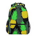 CVDGSAD Pineapple Black Art Bookbag School Student Backpack for Travel Teen Girls Boys Kid