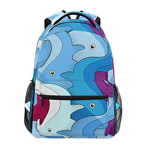 CVDGSAD Red Blue Abstract Fish Bookbag School Student Backpack for Travel Teen Girls Boys Kid