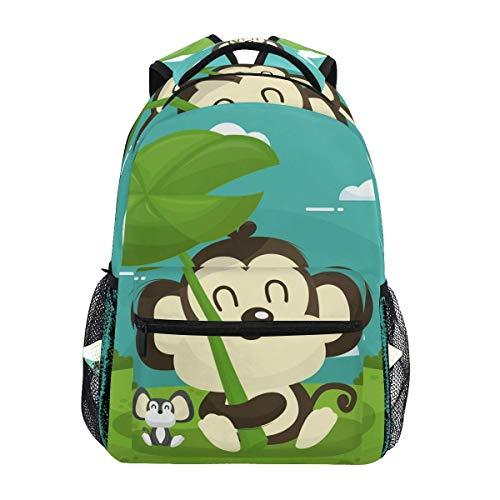 CVDGSAD Shine Green Monkey Bookbag School Student Backpack for Travel Teen Girls Boys Kid