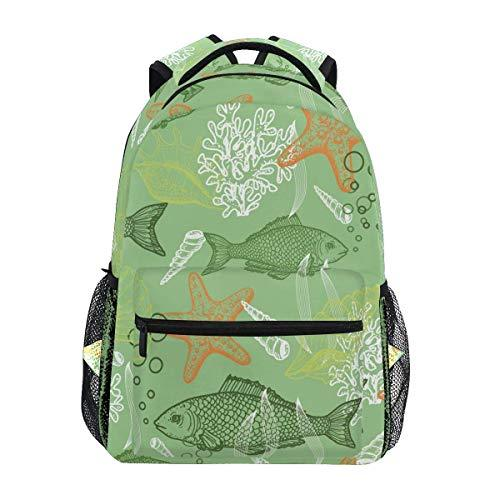 CVDGSAD Water Fish Shell Bookbag School Student Backpack for Travel Teen Girls Boys Kid