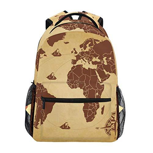 CVDGSAD World Map Compass Bookbag School Student Backpack for Travel Teen Girls Boys Kid