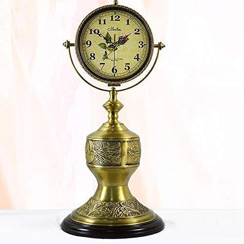 CWLLWC Mantel Clocks, Brass Mute Double-Sided Grandfather Clock Living Room Retro Clock Table Ornaments 31 * 31 * 70cm