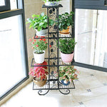 CXQ European Retro Flower Stand Living Room Floor Tray Flower Stand Four-layer Multi-function Indoor Plant Flower Stand Vine Leaf Decoration (Color : Black)