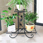 CXQ European Retro Flower Stand Living Room Floor Tray Flower Stand Two-layer Multi-function Indoor Plant Flower Stand Vine Leaf Decoration (Color : Black)