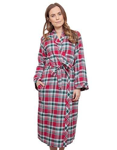 Cyberjammies 3856 Women's Holly Red Check Dressing Gown Loungewear Bath Robe Robe 12
