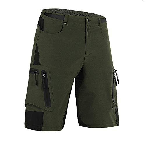 Cycorld MTB Mens Cycling shorts, Mountain Bike Shorts Pants, Water Repellent Baggy Loose Fit Cycle Shorts with Zip Pockets, Army Green, XXL