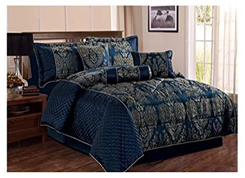 D & N Luxury Jacquard 7Pcs Bedspread Comforter Bedding Bed Sets Bedspread Pillow Cases Valance Sheet Filled Cushion Filled Decorative Pillow Filled Neck Roll Bedroom Decoration (Navy Blue, King)