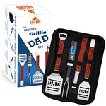 Dad BBQ Grill Set with Carry Case - 4-Piece Includes Spatula, Tongs, Digital Thermometer, Basting Brush and Case - Great Gift for Father's Day, Dad's Birthday or Anytime for Dad