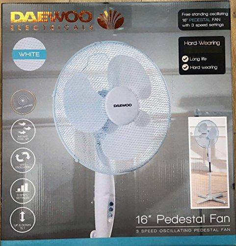 Daewoo 16 Inch Pedestal Fan 3 Speed Oscillating Pedestal Fan