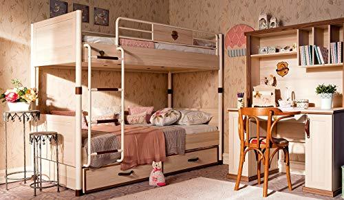 Dafnedesign.com - Full bedroom boys or baby - Includes: bunk bed with retractable drawers, three mattresses, two blankets, a desk and wall studio - [series: Daphne-Real] - (DF11)