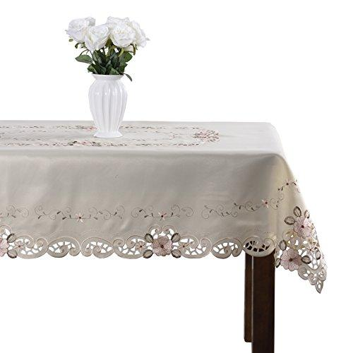 Damask handmade cutwork embroidery pink floral party tablecloth rectangular 71 x 126 inch approx